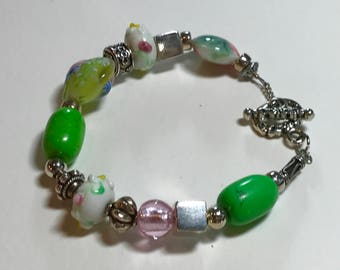 Lampwork Artisan Artistic Beads and Sterling Silver Bracelet