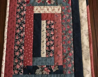 Quilted log cabin table topper/ runner in blues and mauve/primitive/candle mat