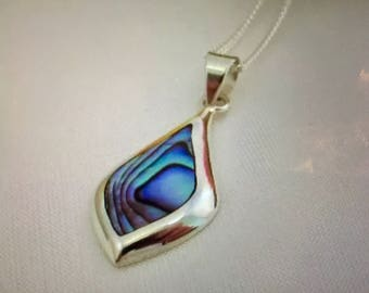 Sterling Silver and Paua Shell Pendant and New Chain