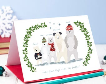 Set 0f 7 Personalised Christmas Polar Bear Card