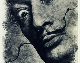 Salvador Dalí pencil drawing art print
