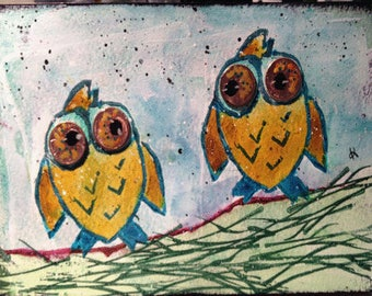 Owls Notecards (set of 6 with envelopes) - two owls with penny eyes art print