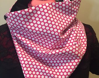 Polka dot scarf, gift for her, cowl scarf, wrap scarf