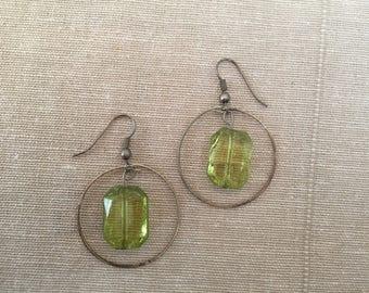 Dangling Green Gemstone Hoops