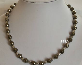 Tibetan silver barrel beads and 8 mm Pyrite necklace