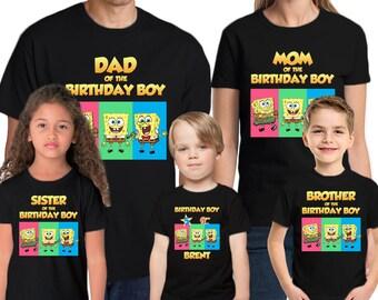 Spongebob Personalized Name & Age Custom  Spongebob Birthday Shirt Family Birthday Shirts