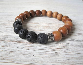 Men's Diffuser Bracelet, Ironwood Bracelet, Men's Jewelry, Essential Oil Bracelet,  Lava Stone Stretch Bracelet, Fox and Bear Essentials