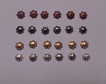 LOT 24 metal 6 mm bead caps