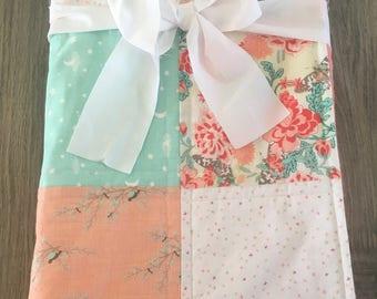 Baby Quilt~ Patchwork Baby Quilt~ Minky Blanket Girl~ Crib Quilt~ Baby Girl Quilt~ Salmon Baby Quilt