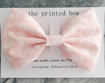 Pale Pink Floral Big Bow Clip