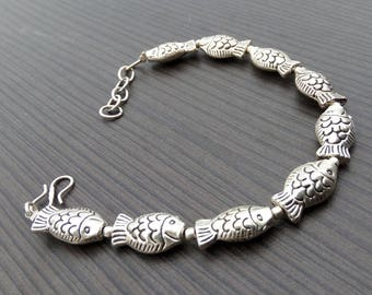Fish bracelet | Indian boho bracelet | Silver plated bracelet | Linked birthday gift bracelet | Valentine days gift jewelry bracelet | B13
