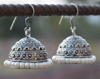 Pearl jhumka earrings   Indian ethnic jewelry earrings   Dangle and Drop earrings   Silver plated earrings   Round Jhumka earrings   E106