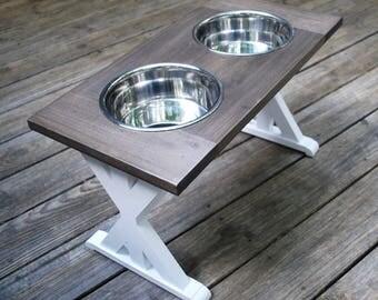 X-Large - Dog Bowl Stand - Raised Dog Feeder - Farmhouse Table - Trestle - Raised Dog Bowl - Elevated Dog Feeder - Dog Bowl Holder - Dog