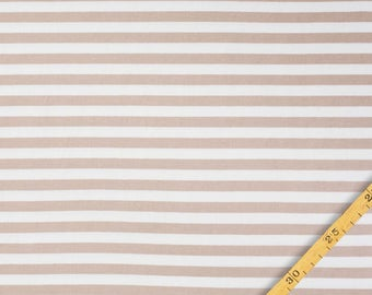 1/2 Yard Organic Cotton Jersey Knit,NOSH ORGANICS,Midi Stripes Maple Sugar-Vanilla  ,Organic Knit Fabric