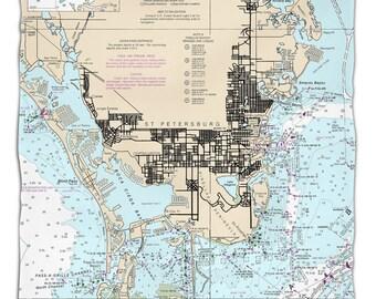 FL: St. Petersburg, FL Nautical Chart Fleece Throw Blanket