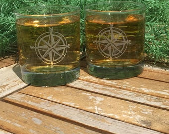 Rocks Glasses-Compass-Engraved-Whiskey Glasses-(Set of 12)