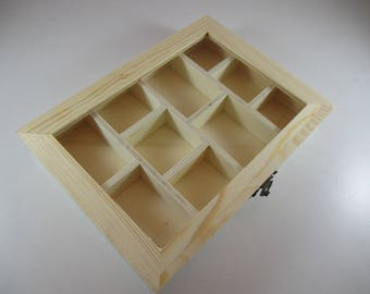 Wooden box with window glass, 10 compartments 20.5 x 15 x 3 cm.