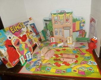 vintage 1997 milton bradley sesame street elmo's birthday party board game