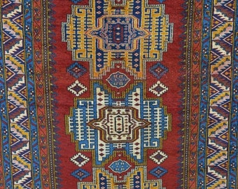 Captivating BIG SALE 141 X 91 CM Antique Signed / Dated Armenian Handmade Wool Low Pile  Rug