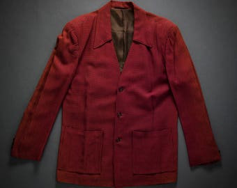 Late 1940s 1950s Red Houndstooth Hollywood Jacket