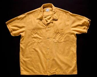 Vintage 1950s Yellow Flecked Cotton Shirt