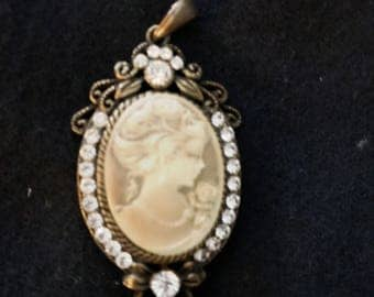 Young Girl Cameo Pendant with Rhinestones