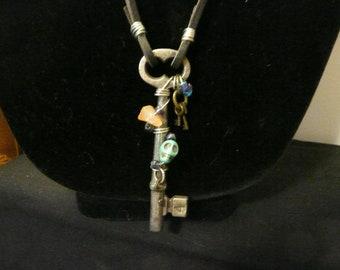 Skeleton Key Necklace, Leather Necklace, Skull Necklace, Gothic Necklace, Key Necklace, Long Necklace, Charm Necklace, Pendant Necklace