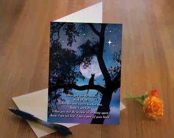 Cat and Moon, Cat Sympathy, Cat Sympathy Poem, Cat Memorial, Loss of Cat Sympathy Card