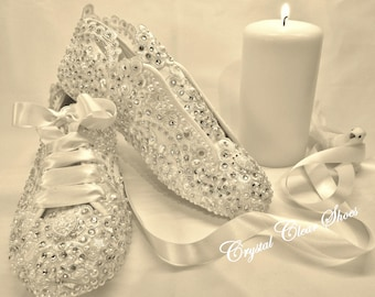 Lace Wedding/Bridal Trainers/Crystal gems and Pearls