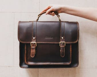 Leather Satchel messenger bag laptop briefcase iPad Messenger for men and women - Classic by Niche Lane