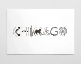Chicago Iconic Lettering Letterpress Art Print
