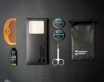 Essential Beards, Beard Grooming Kit - MASCULINE 6pc set, Beard Oil, Beard Balm, Moustache Wax, Comb, Mens gift box, Men Present 1B