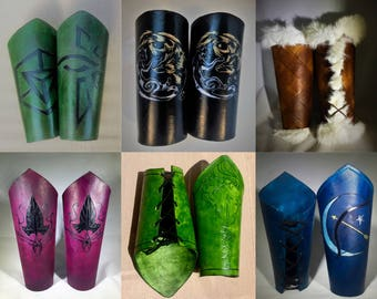 Leather Bracers - Arm Armor Leather with Custom Design Options for your Renaissance Costume, Medieval Leather Armor Set and Armor Fantasy