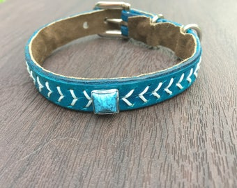 Genuine Leather Designer Dog Collar Size XS-XL - Multiple Color Options Available