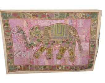 Ethnic Traditional Embroiderd Work Elephant Tapestry Wall Hanging Cotton 003