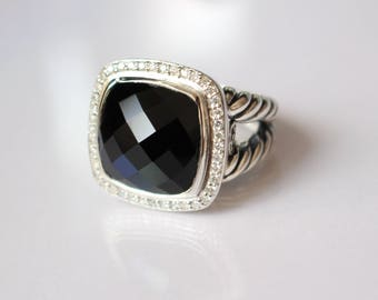 Pre-Owned Old Style DAVID YURMAN Albion 14x14mm HUGE Black Onyx and Diamonds Ring Size 8