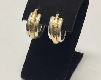 Vintage Estate 14K Yellow Gold/Sterling Silver Hoop Earrings