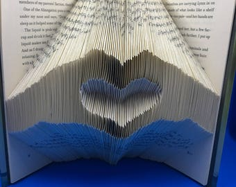 Folded book art, Hands creating heart, book sculpture, unique gift, valentine, wedding gift, gift for her, book lover, Insurgent