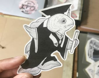 Graduating Goldfish Stickers