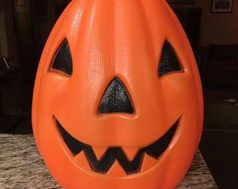 "Large Vintage Halloween blow mold Jack o lantern pumpkin light 14"""