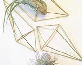 Brass Geometric Flatlay Himmeli - Triangle/Hexagon Air Plant Holder - Wall Decor - Minimalist Brass Orb - Gold Plant Pot