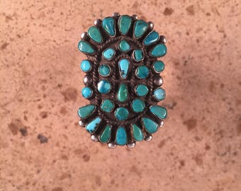 Vintage Navajo Turquoise and Sterling Silver Cluster Ring Size 10