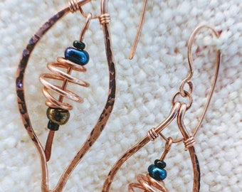 Hammered and Polished Leaf Earrings with Copper Spiral Bead Paddle