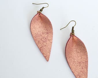 Leather Leaf Earrings in Rose Gold and Pink--Small, Medium, and Large // Magnolia Leaf Earrings
