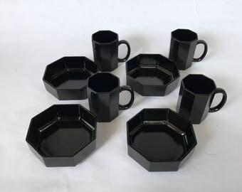Black Octagon Dishes, Arcoroc France, Black Arcoroc Dishes, Mid Century Modern Dinnerware, Arcoroc Bowls, Arcoroc Mugs,Arcoroc Octime Dishes