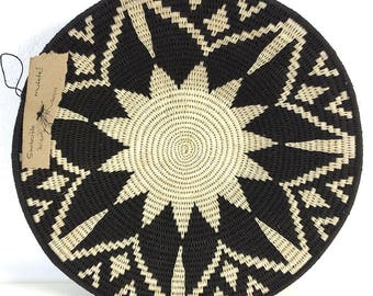 Zienzele Basket / Handmade Woven Plate / 12 inch / Zimbabwe Plate / Black White Pattern / Ethnic decor / Wall hanging