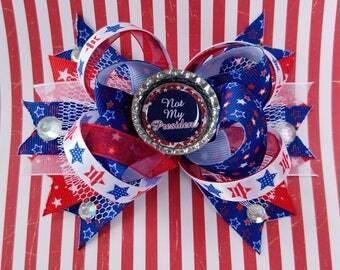 Not My President Political OTT Hair Bow Stars Stripes