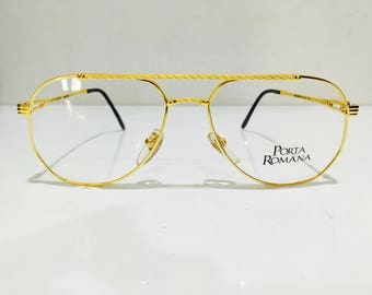 Hand Made In Italy Vintage Porta Romana Model 234 Colour Code 1 Gold Vintage Aviator Sunglasses Eyeglasses