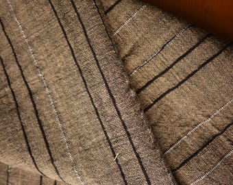 Chomthong Handwoven brown & black/white cotton (2.6 m), handwoven textile  - Fairtrade traditional handmade product - Thai chomtong fabric