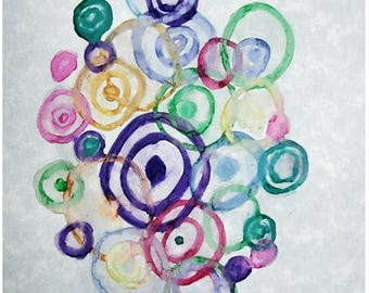 Abstract Circles, 4x6 Watercolor prints